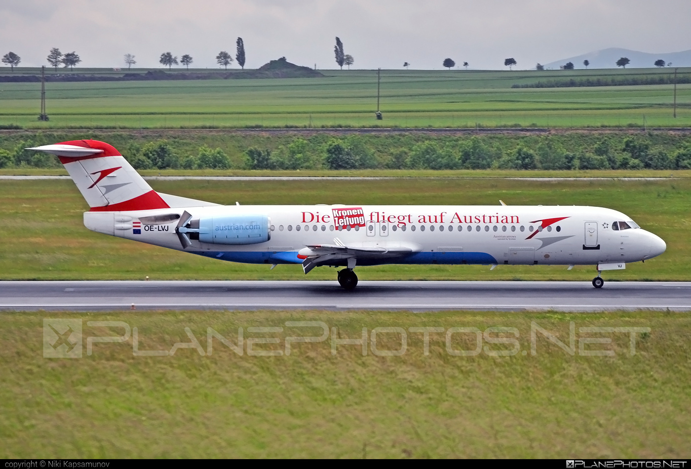 Fokker 100 - OE-LVJ operated by Austrian arrows (Tyrolean Airways) #fokker