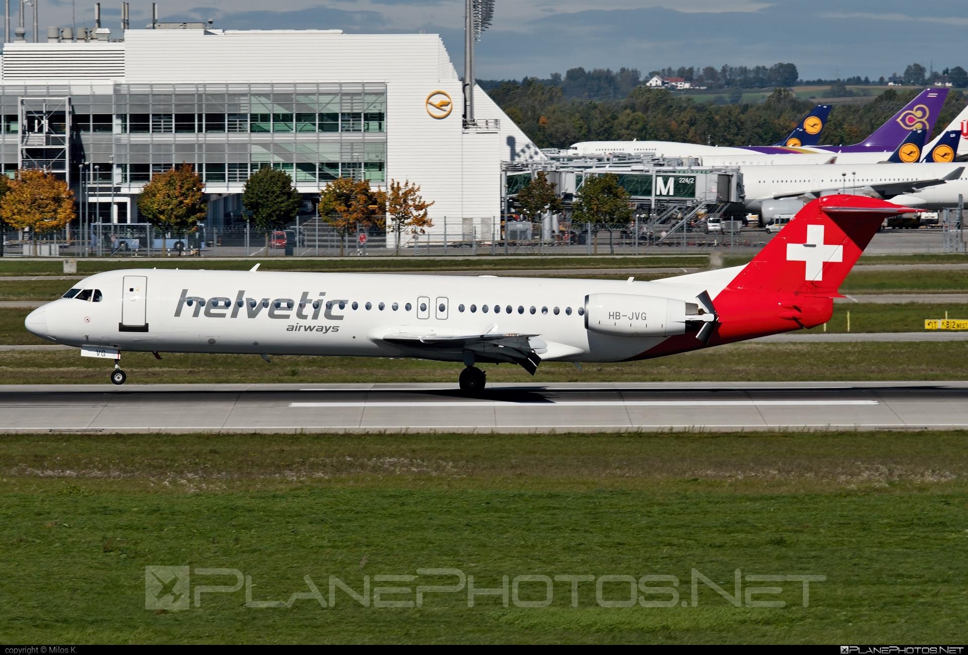 Fokker 100 - HB-JVG operated by Helvetic Airways #fokker