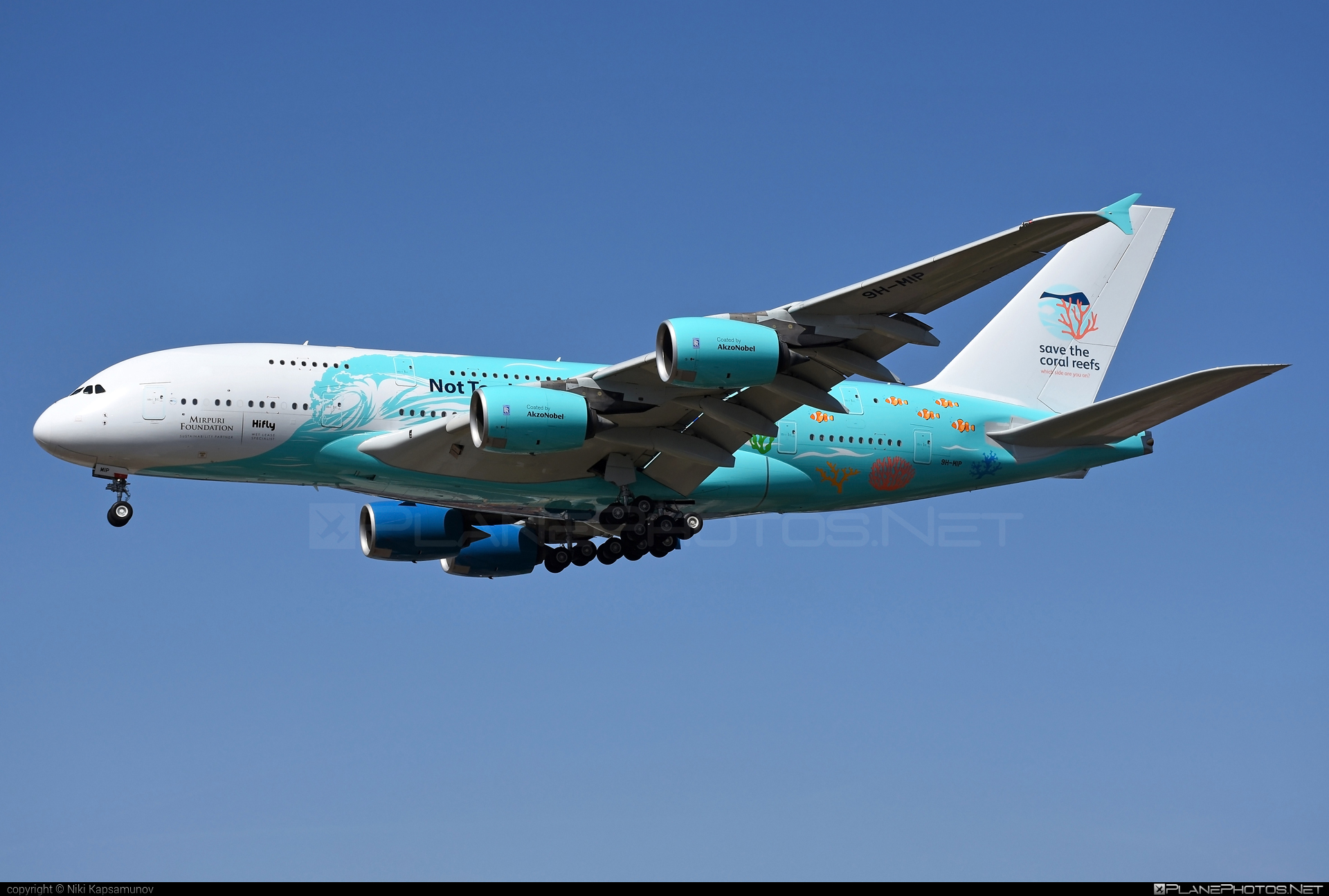 Airbus A380-841 - 9H-MIP operated by Hi Fly Malta #a380 #a380family #airbus #airbus380 #hifly #hiflymalta #savethecoralreefs