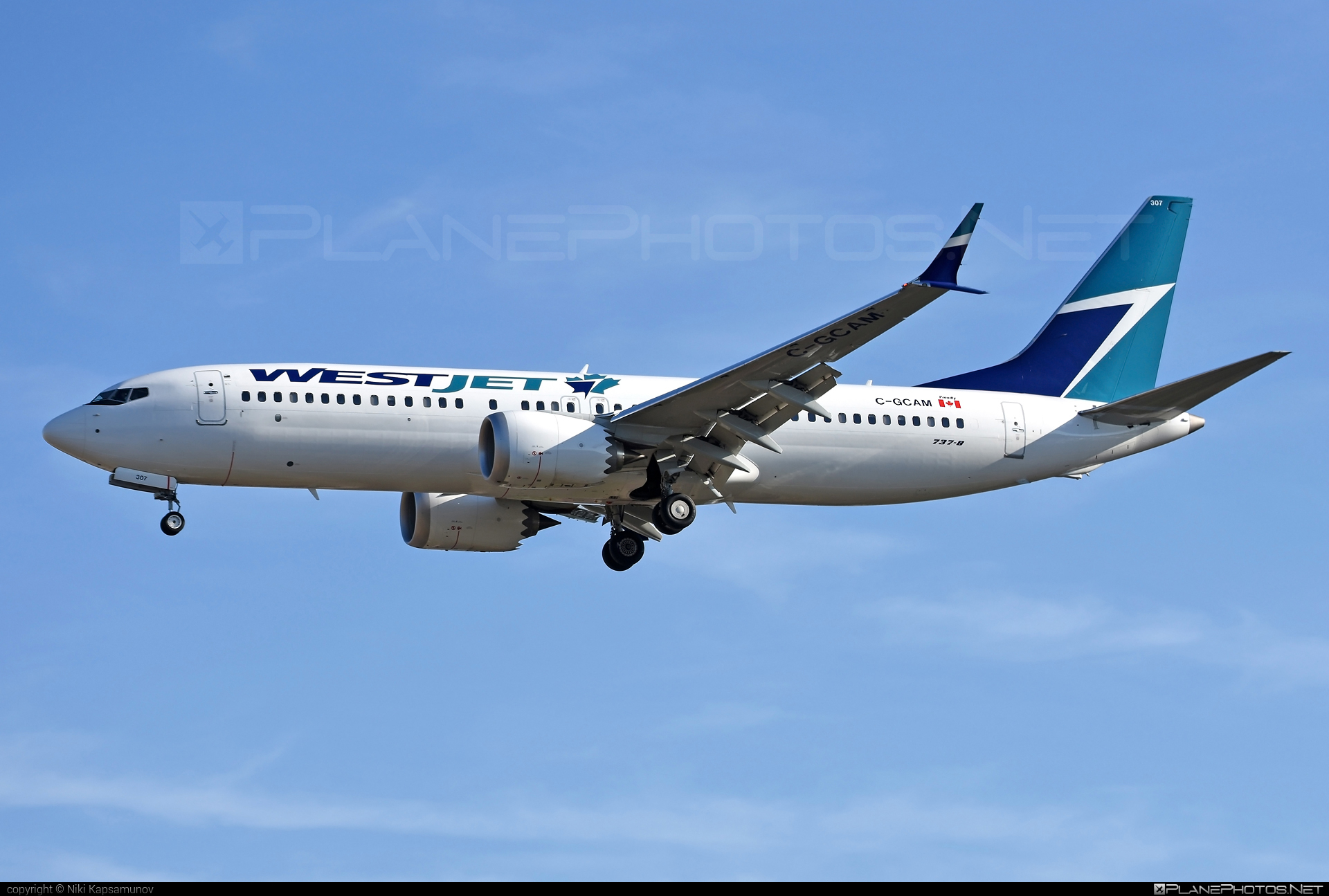Boeing 737-8 MAX - C-GCAM operated by WestJet Airlines #b737 #b737max #boeing #boeing737