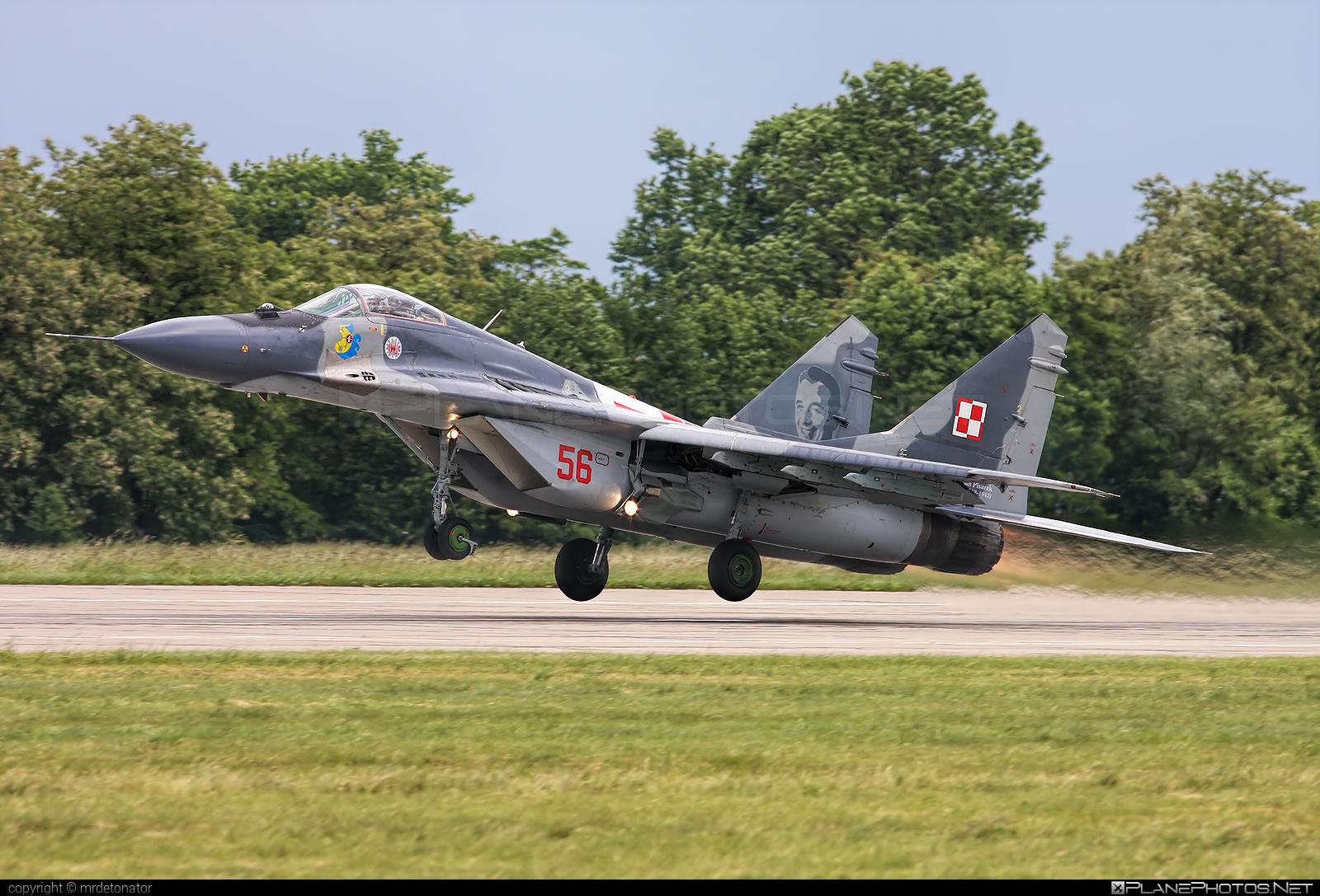 Mikoyan-Gurevich MiG-29A - 56 operated by Siły Powietrzne Rzeczypospolitej Polskiej (Polish Air Force) #mig #mig29 #mig29a #mikoyangurevich #polishairforce #silypowietrzne