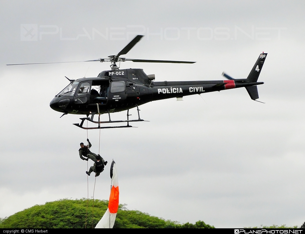 Helibras AS 350 BA Esquilo - PP-OCZ operated by Polícia Civil (Brazilian Civil Police) #helibras