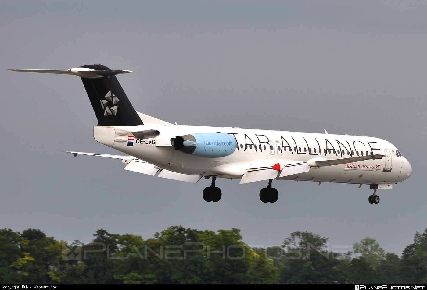 Fokker 100 - OE-LVG operated by Austrian arrows (Tyrolean Airways) #fokker #staralliance