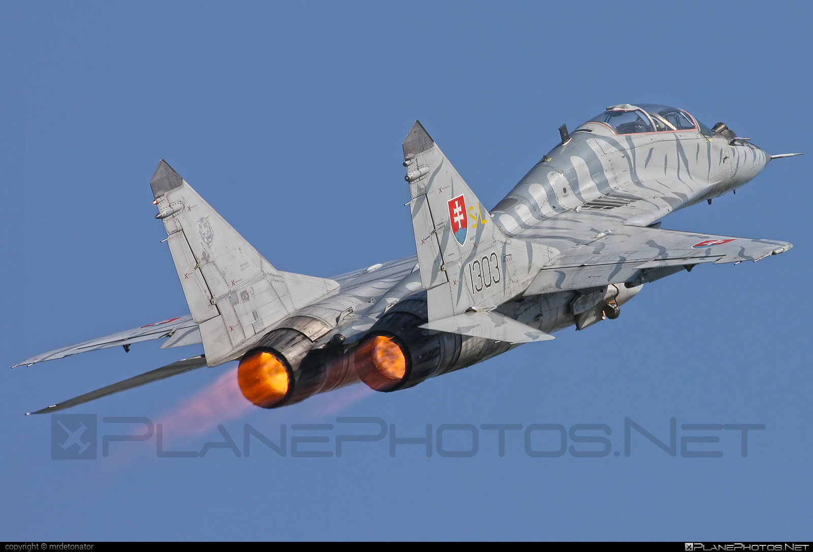 Mikoyan-Gurevich MiG-29UBS - 1303 operated by Vzdušné sily OS SR (Slovak Air Force) #mig #mig29 #mig29ubs #mikoyangurevich #slovakairforce #vzdusnesilyossr