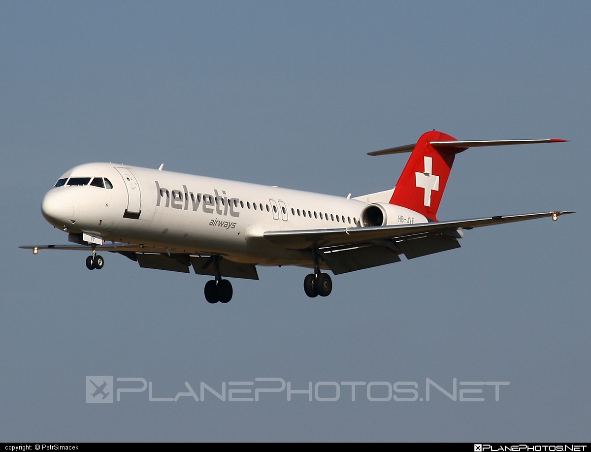 Fokker 100 - HB-JVF operated by Helvetic Airways #fokker