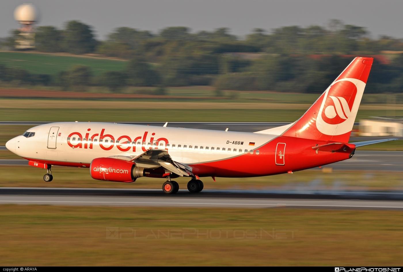 Boeing 737-700 - D-ABBW operated by Air Berlin #airberlin #b737 #b737nextgen #b737ng #boeing #boeing737
